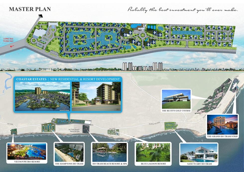 Mặt bằng tổng thể dự án Coastar Estate Hồ Tràm